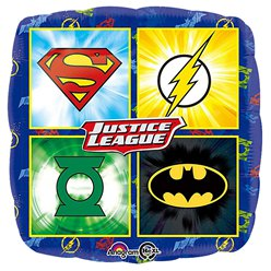 "Justice League Emblems Square Balloon - 18"" Foil"