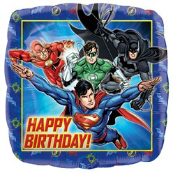 "Justice League Happy Birthday Square Balloon - 18"" Foil"