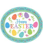 Lovely Easter Oval Plates - 30cm Paper Party Plates