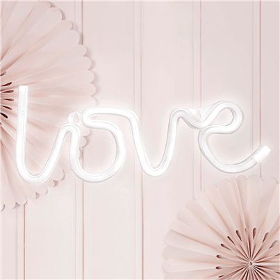 White LOVE Neon LED Sign - 34.5cm