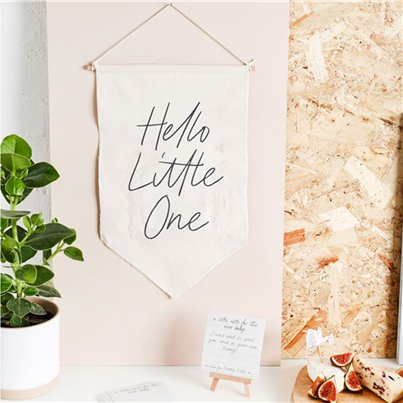 Hello Little One Canvas Sign & Cards
