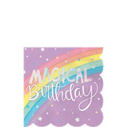 Magical Rainbow Paper Beverage Napkins - 25cm