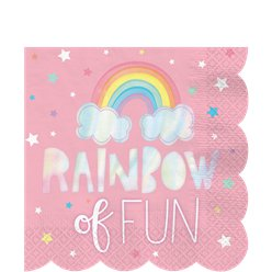 Magical Rainbow Paper Party Napkins - 33cm