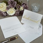 Scripted Marble Will You Be My Bridesmaid Cards