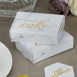 Scripted Marble Wedding Cake Boxes