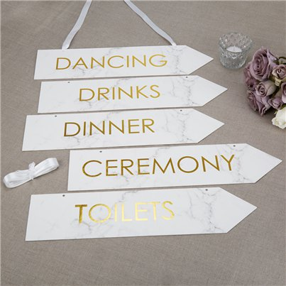 Scripted Marble Wedding Signs - 42cm