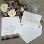Scripted Marble Evening Wedding Reception Invites - Party Invitation Cards