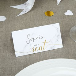 Scripted Marble Wedding Place Cards