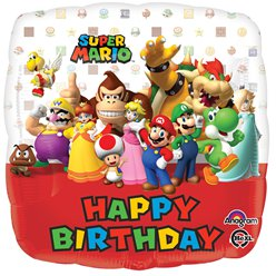 "Super Mario 'Happy Birthday' Balloon - 18"" Foil"