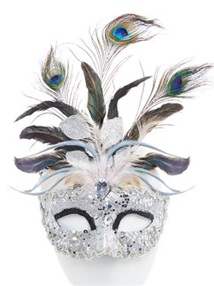 Silver Masquerade Mask with Glitter & Peacock Feathers