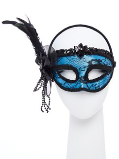 Blue Masquerade Mask with Feathers