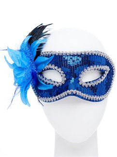 Blue Sequin Masquerade Mask with Flower