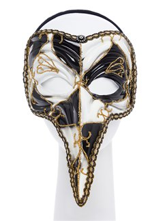Black & White Long Nose Masquerade Mask
