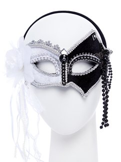 Black & White Masquerade Mask with Feathers & Beads