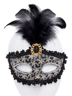 Black Glittery Masquerade Mask with Tall Feather & Gem