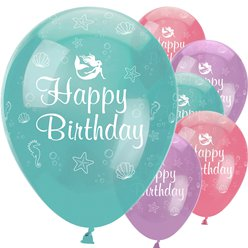 "Mermaid Shine 'Happy Birthday' Balloons - 12"" Latex"