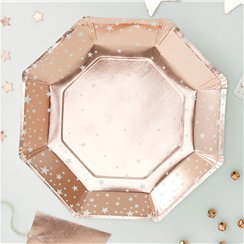 Rose Gold Metallic Star Plates - 23cm