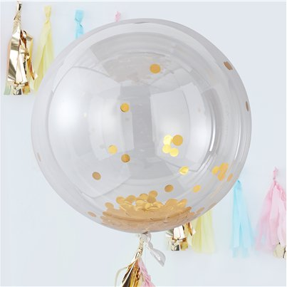 "Pick & Mix Pastel Gold Confetti Giant Balloon - 36"" Orbs"