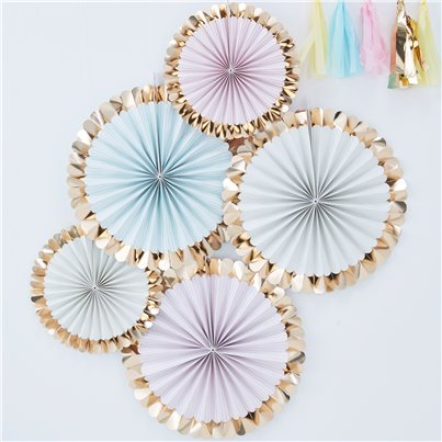 Pick & Mix Pastel Gold Foiled Pastel Fan Decorations - 38cm