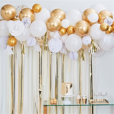 Gold Mix Balloon Garland Decorating Kit