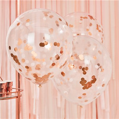 "Giant Rose Gold & Blush Confetti Balloons - 36"" Latex"