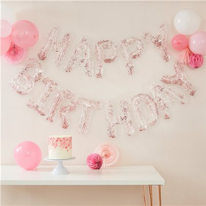 Rose Gold Confetti Filled Balloon Bunting