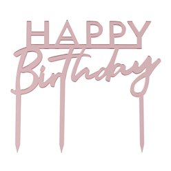 Happy Birthday Pink Acrylic Cake Topper