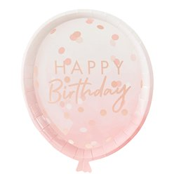 Rose Gold Balloon Paper Plates