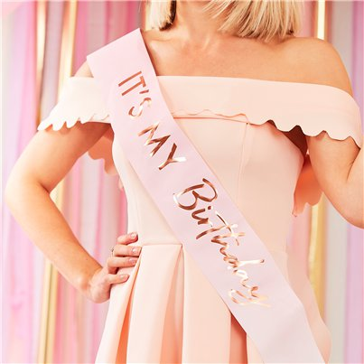Pink & Rose Gold Birthday Sash