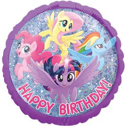 "My Little Pony Holographic Happy Birthday Balloon - 18"" Foil"
