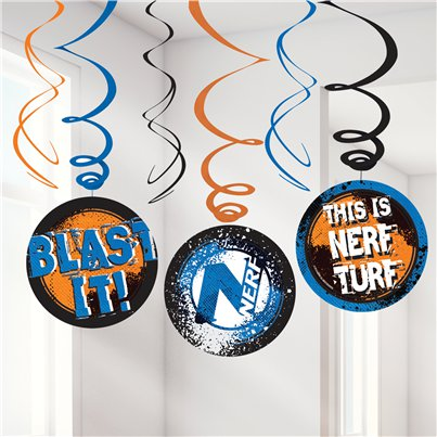 Nerf Party Hanging Swirl Decorations