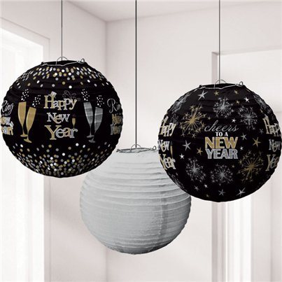 Metallic New Year's Eve Lantern Decorations - 24cm