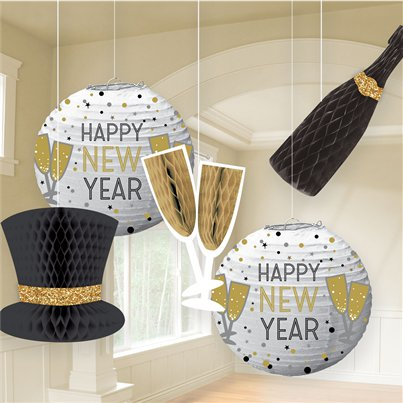 New Year's Eve Lanterns & Honeycomb Decorations