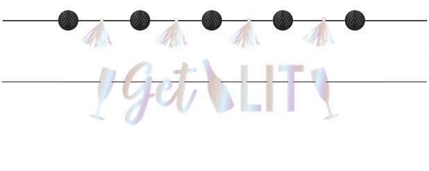 Disco Ball Drop 'Get Lit' Banner - 1.8m