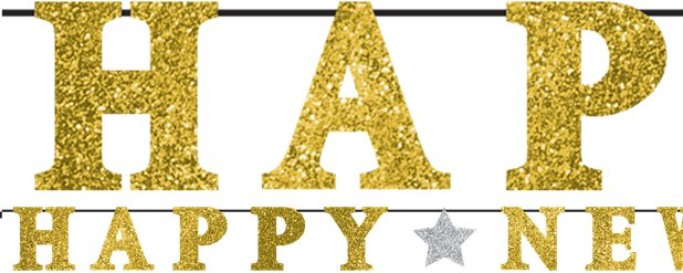 'Happy New Year' Gold Glitter Letter Banner - 3.6m