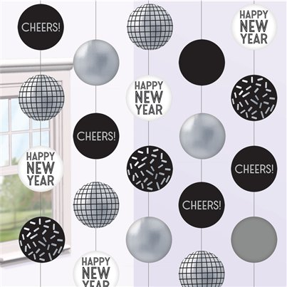 Happy New Year Disco Ball Drop Hanging String Decorations - 1.5m