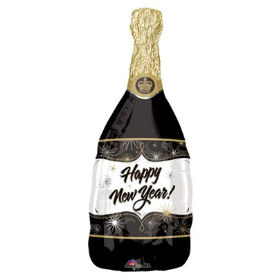 "Happy New Year! Champagne Bottle Balloon - 36"" Foil"