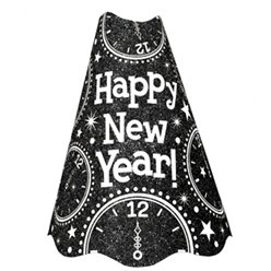 "Black Glitter ""Happy New Year"" Hat - 23cm Tall"