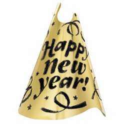 "Gold Foil ""Happy New Year!"" Hat - 23cm Tall"