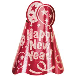"Red ""Happy New Year!"" Hat - 23cm Tall"