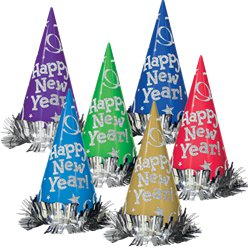 """Happy New Year"" Jewel Tone Hats"