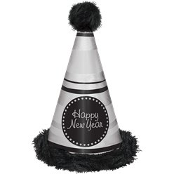 "Black & Silver ""Happy New Year"" Marabou Hat"