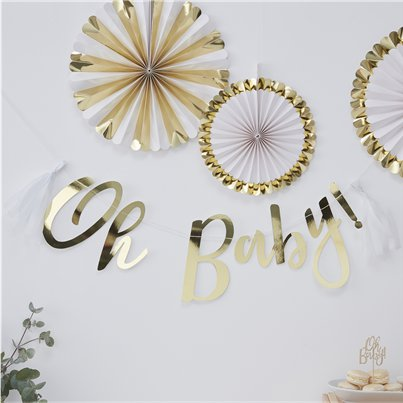 'Oh Baby!' Gold Foiled Letter Banner - 1.5m