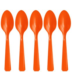 Orange Reuseable Plastic Spoons