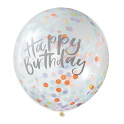 "Pastel Confetti Happy Birthday Balloons - 12"" Latex"