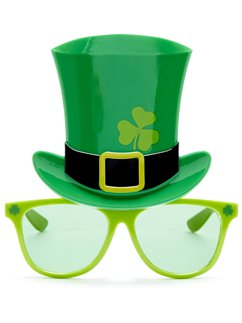 St Patrick's Day Novelty Glasses with Hat - 15cm