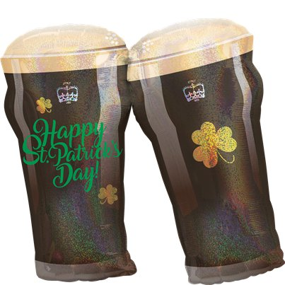 "St Patrick's Day Beer Glasses SuperShape Balloon - 28"" Foil"