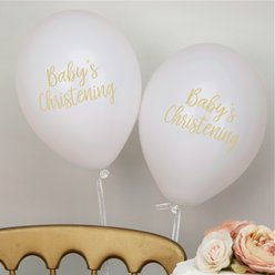 "Pattern Works White Christening Balloons - 12"" Latex"