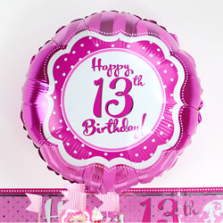 Perfectly Pink Happy 13th Birthday Balloon