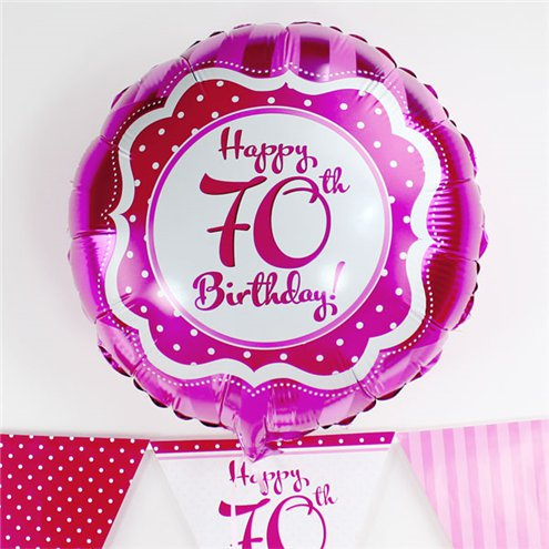 Perfectly Pink Happy 70th Birthday Balloon